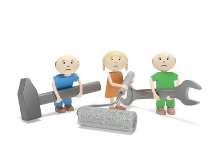 tornillos: Día Mundial contra el Trabajo Infantil. niños tristes abstractos con las herramientas (llave inglesa, martillo, rodillos de pintura) como símbolo de la explotación del trabajo infantil, la esclavitud infantil, protección de los niños del trabajo duro Foto de archivo