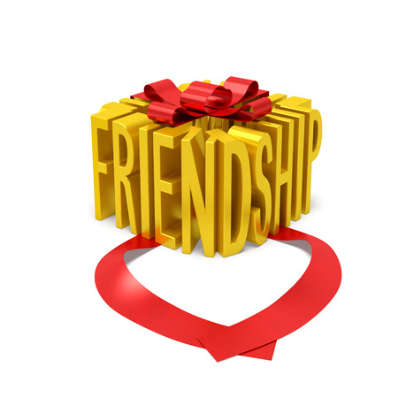 love box: Friendship creative concept. Golden word as gift box with open red ribbon as symbol of close (intimate) friendship, true friendship, tender of friendship or International Day of Friendship
