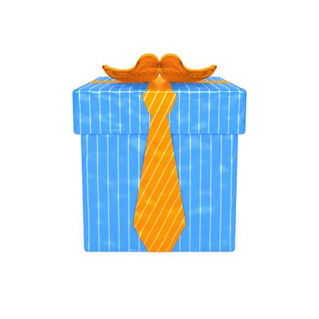 Gift for men. Blue striped gift box with orange ribbon in the form of tie and mustache as symbol of giving of present to man, father, grandfather, gentleman, boyfriend, chief or husband