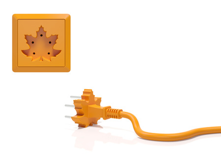autumn season: Autumn fall creative concept. Electric plug and power socket as orange maple leaf as fall season, autumn time sale shopping, Thanksgiving Day, harvesting, decoration element for calendar