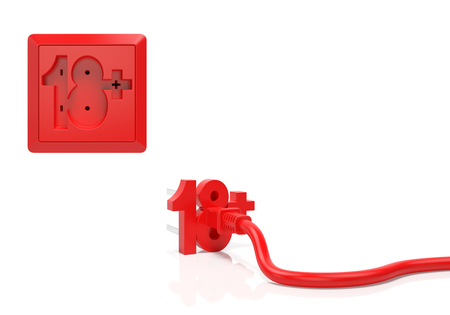 adult only: Adult age warning informative concept. Electric plug and power socket as red number 18 with plus sign as symbol of adult only, legal age, adult content, restrictions, parental control