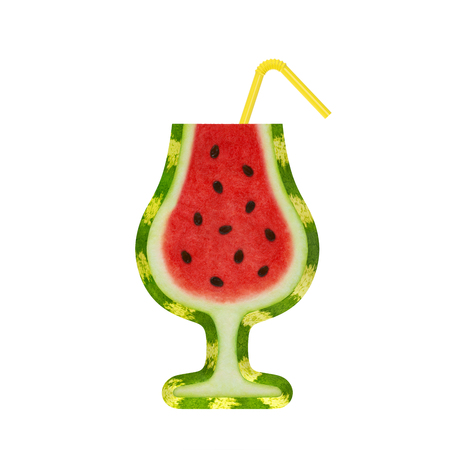 nonalcoholic: Watermelon slice with seeds as creative fresh summer tropical tonic cocktail with soda straw as symbol of alcoholic or nonalcoholic beverage with unusual recipe or summer cocktail party Stock Photo