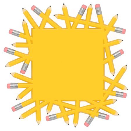 Scatter pencils merge into yellow solid area and form square template with free space or empty place for text, notes, announcement, notice, advertising, reminder, marks, annonce, message