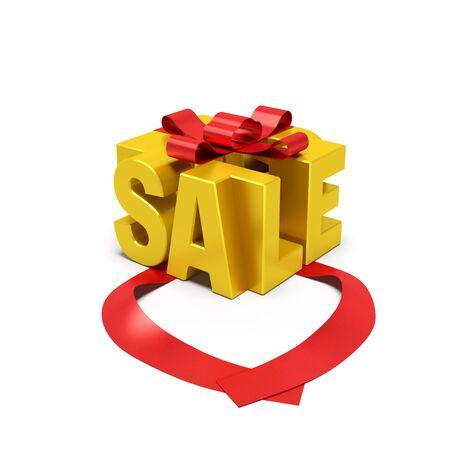 販売コンセプト。ゴールデン ギフト ボックスの形で開く赤いリボン販売シーズン、魅力的なまたは特別オファー、プロモーション活動、高品質の製 写真素材