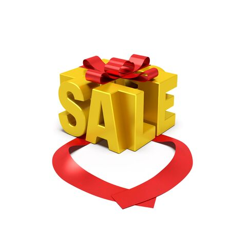 Sale concept. Golden word in the form of gift box with open red ribbon as symbol of beginning of sale season, attractive or special offer, promotional action, high quality product 免版税图像