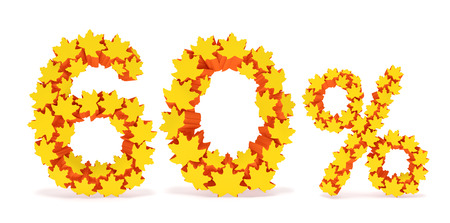 reduced value: Sixty percent off (60 %). Numbers six, zero and percentage sign in the form of yellow and orange geometric maple leaves as fall season, autumn time sale shopping, discount price