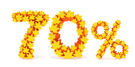 reduced value: Seventy percent off (70 %). Numbers seven, zero and percentage sign in the form of yellow and orange geometric maple leaves as fall season, autumn time sale shopping, discount price