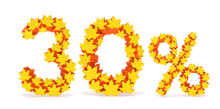 reduced value: Thirty percent off (30 %). Numbers three, zero and percentage sign in the form of yellow and orange geometric maple leaves as fall season, autumn time sale shopping, discount price
