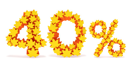 reduced value: Forty percent off (40 %). Numbers four, zero and percentage sign in the form of yellow and orange geometric maple leaves as fall season, autumn time sale shopping, discount price