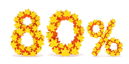 reduced value: Eighty percent off (80 %). Numbers eight, zero and percentage sign in the form of yellow and orange geometric maple leaves as fall season, autumn time sale shopping, discount price