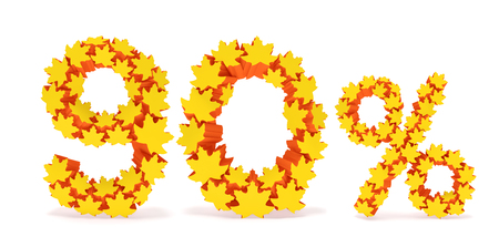 reduced value: Ninety percent off (90 %). Numbers nine, zero and percentage sign in the form of yellow and orange geometric maple leaves as fall season, autumn time sale shopping, discount price