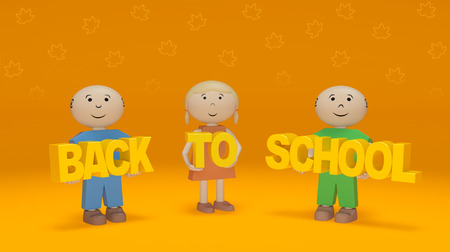 Back to school season (creative concept). Happy smiling children hold words on orange background with shapes of autumn yellow maple leaves