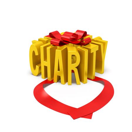 慈善団体の創造的なコンセプト。ゴールデン ギフト ボックスの形で開く赤いリボン、慈悲や慈善団体の国際日を与える慈善の援助の寄付のシンボル