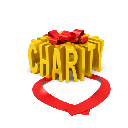 Charity creative concept. Golden word in the form of gift box with open red ribbon as symbol of donation, philanthropic assistance, giving, mercy or International Day of Charity
