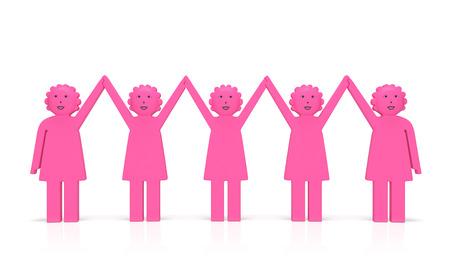 女性の平等日またはフェミニズム (創造的な概念)。幸せな歓喜のアメリカ女性は、手を握り合う、フェミニスト運動のシンボルとして笑顔女性差別