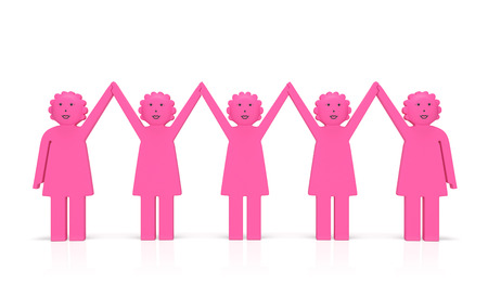Women equality day or feminism (creative concept). Happy jubilant united women hold hands and smile as symbol of feminist movement, fight against female discrimination, equal rights.