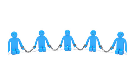 human trafficking: International Day for the Remembrance of the Slave Trade and Its Abolition. Sad kneeling people put into chains as symbol of combating human trafficking, protection from slave trading
