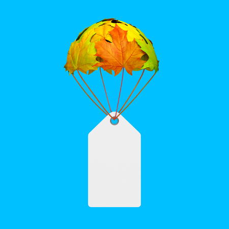 Empty paper price tag label go down on a parachute in the form of vibrant maple leaves on blue background as symbol of autumn sale shopping season or creative advertising template Banque d'images