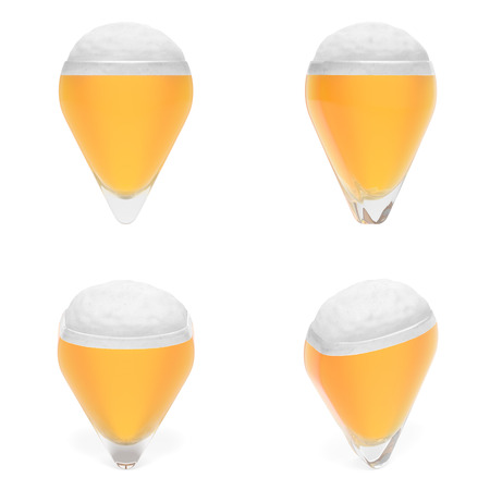 orienting: Map pointer in the form of glass of beer with foam as symbol of beer festival, event location, landmark, address of bar, time for beer, venue for Octoberfest (set of creative markers) Stock Photo