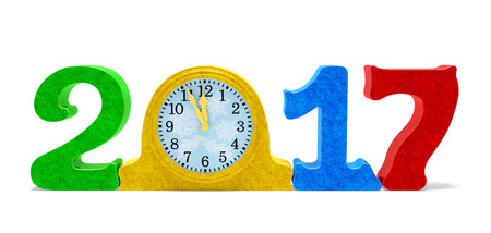 2017 New Year concept. Festive date number and vintage older table clock with colored sparkles as symbol of New Year eve, holiday midnight, incoming year, some minutes before holiday