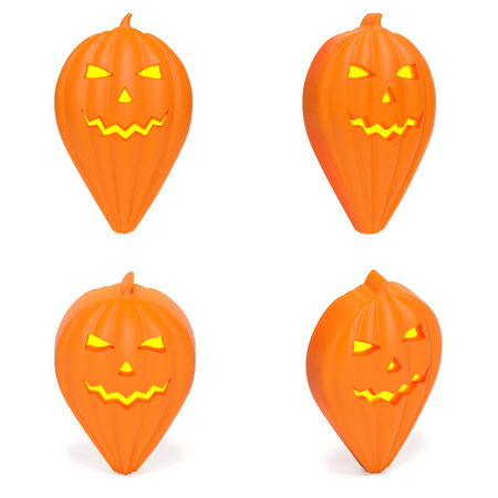 Map pointer as orange scary pumpkin as symbol of All Hallows eve, venue for Halloween party, event location, address of holiday carnival, time for festive fun (set of creative markers)