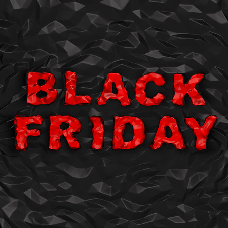Black Friday (shopping discount creative concept). Red creasy words as warped stone on black polygonal surface with crinkles as crumple paper or stone background as symbol of sale season