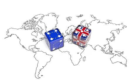 交渉の概念: イギリスおよび欧州連合の世界マップ上のフラグとサイコロを象徴する二国間会議、Brexit、外務、国益、グローバルな問題についての議