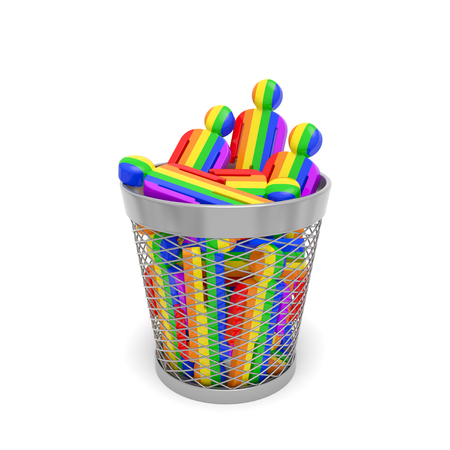 LGBT community discrimination. Rainbow people in trash bin as symbol of homophobia, restriction on rights, slander, oppression, limitation or International Day Against Homophobia