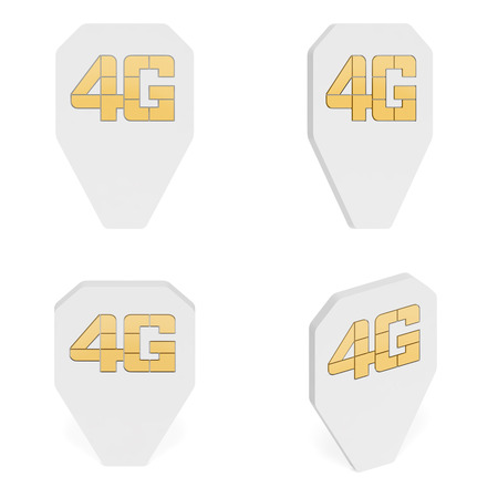 Map pointer as 4g simcard with microchip as symbol of fourth generation of mobile telephony, location of 4g LTE network or coverage map, high speed connection (set of creative markers) 免版税图像
