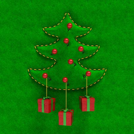 メリー クリスマスや新年 (創造的なお祝いカード)。エンボス押し出しもみ刺繍ゴールド シルク ベルベット生地の表面に、赤ピンのギフト ボックス