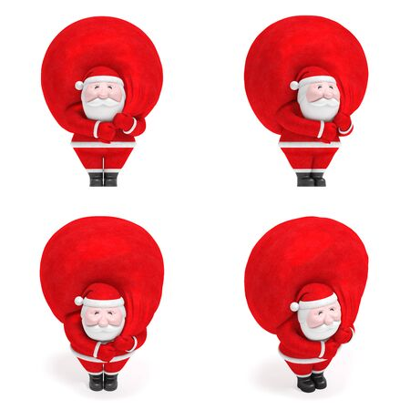 Abstract smiling funny charming plump Santa Claus with big red bag with gifts as map pointer as symbol of Christmas or New Year and decoration element for design (set of creative markers) 免版税图像