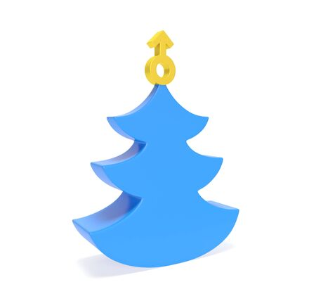 Creative blue Christmas tree with decoration in the shape of golden male symbol as metaphor of man New Year office party, holiday event only for gentlemen or gifts for men Archivio Fotografico