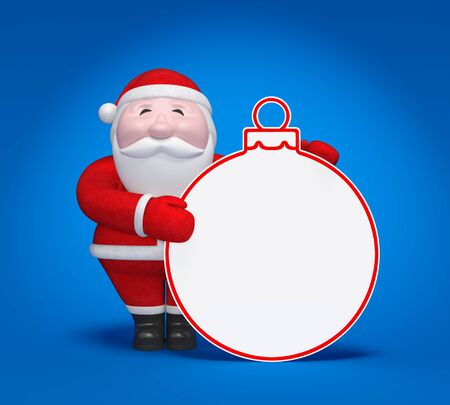 Christmas concept. Smiling plump Santa Claus hold Christmas ball template with free space or empty place for text, invitation or sale advertising on blue background with light effect