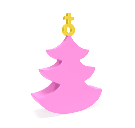 Creative pink Christmas tree with decoration in the shape of golden female symbol as metaphor of woman New Year office party, holiday event only for gentlewomen or gifts for ladies