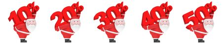 Christmas or New Year winter sale season (shopping discount creative set). Smiling funny charming plump Santa Claus carry on back big red number and percent sign (10, 20, 30, 40, 50%)
