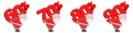 Christmas or New Year winter sale season (shopping discount creative set). Smiling funny charming plump Santa Claus carry on back big red number and percent sign (60, 70, 80, 90%)