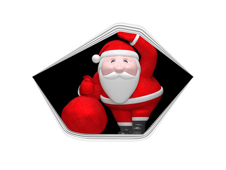 Smiling funny charming plump Santa Claus peek out of hole of stretched white paper sheet or fabric surface and hold red bag with gifts. Christmas or New Year holiday surprise concept