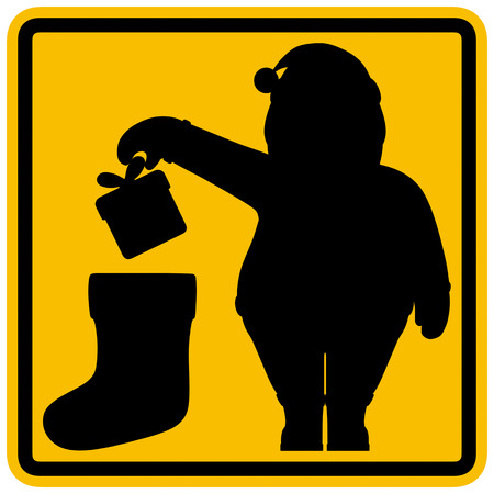 Santa Claus put or throw gift box in Christmas sock as symbol of present giving or place for gifts. Creative holiday warning informative winter sign by analogy with discard rubbish in trash bin label