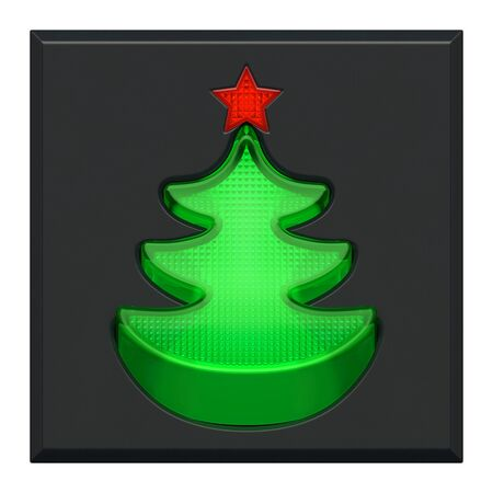 Christmas or New Year holiday creative concept. Pushed lighting green plastic button or switch and red indicator light as Christmas tree (fir) with star on grey dashboard or control panel