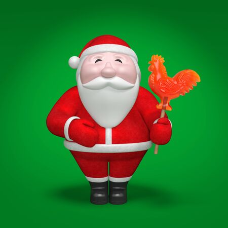 Smiling funny plump Santa Claus holds sweet red and orange lollipop in the form of fiery rooster as Chinese symbol of 2017 year on green background with light effect Stockfoto