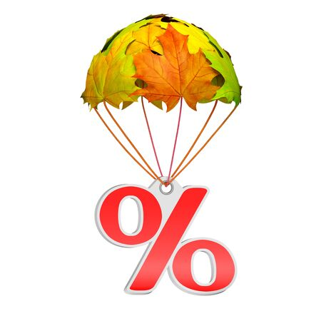 Paper price tag label as percent sign go down on a parachute in the form of vibrant maple leaves on white background. Autumn sale shopping season or advertising announcement template 免版税图像