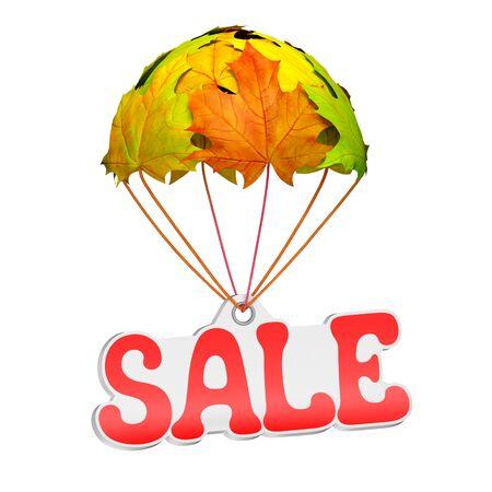 販売テキストとして紙の値札ラベルは白地に鮮やかなカエデの葉の形でパラシュートに下る。秋販売ショッピング シーズンまたは広告のお知らせテ