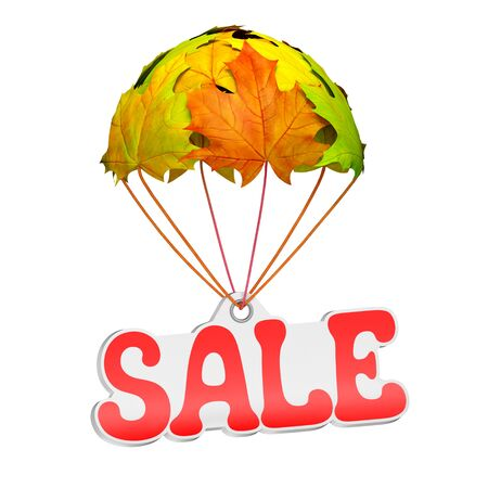 Paper price tag label as sale text go down on a parachute in the form of vibrant maple leaves on white background. Autumn sale shopping season or advertising announcement template