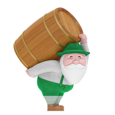 Beer festival or Octoberfest event (creative concept). Smiling funny charming plump bearded little old man in traditional Bavarian costume carry on back wood beer cask.