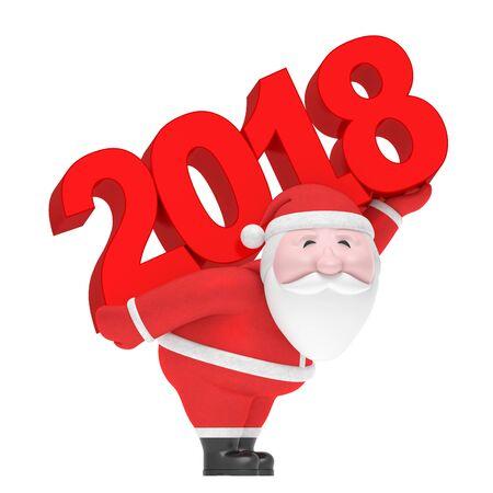 新年やクリスマス冬休み (創造的な記号)。面白い魅力的なふっくら笑顔サンタ クロース運ぶ戻って大きな赤い 2018年日付