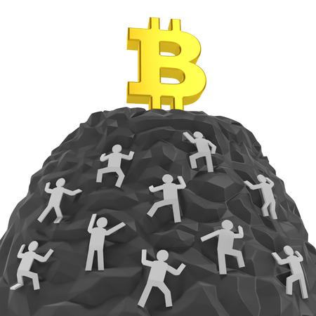 Bitcoin 創造的な概念。投資家、顧客、売り手またはディーラー合戦、パニック買い、cryptocurrency の需要が高いのシンボルとして黄金 bitcoin 記号と山の 写真素材