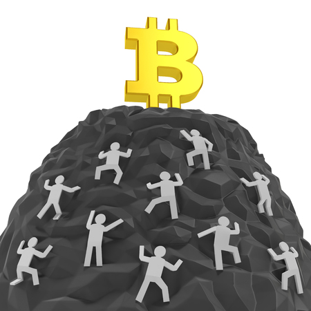 Bitcoin creative concept. Investors, customers, sellers or dealers climb up a hill of mountain with golden bitcoin sign as symbol of agiotage, panic buying, high demand for cryptocurrency. Archivio Fotografico