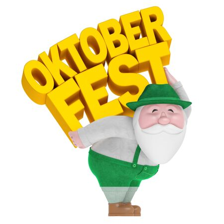 Oktoberfest German beer festival (creative invitation welcome concept). Smiling funny charming plump bearded little old man in traditional Bavarian costume carry on back yellow text