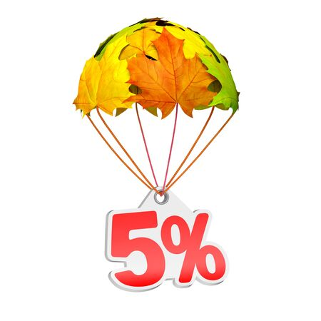 Paper price tag label as five percent (5%) go down on a parachute in the form of vibrant maple leaves on white background. Autumn sale shopping season or advertising announcement