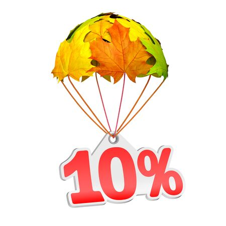 Paper price tag label as ten percent (10%) go down on a parachute in the form of vibrant maple leaves on white background. Autumn sale shopping season or advertising announcement Stockfoto